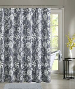 Felice Gray Floral Flowers White Fabric Shower Curtain Victoria Classics Ebay