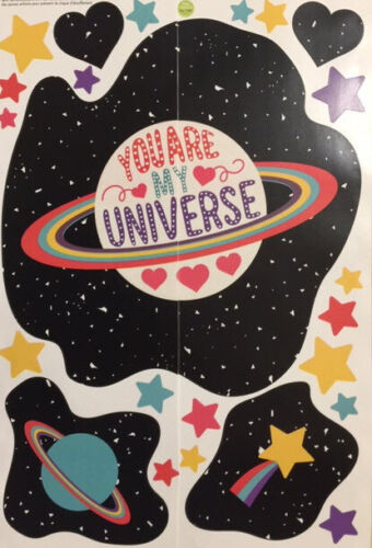 YOU ARE MY UNIVERSE wall stickers 24 decals planet stars outer space hearts love
