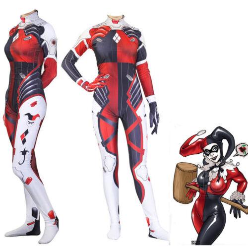 Suicide Squad Harley Quinn Jumpsuit Cosplay Costume Zentai Spandex Bodysuit Suit
