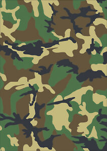 a5 sheet laminated camouflage stickers self adhesive vinyl green