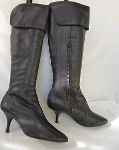 chaussures de sport cf158 4c08f Détails sur ASH bottes cuissardes mousquetaire qualité talon CUIR noir T 39  Parfait état