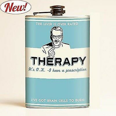 Retro-a-go-go Metal FLASK LIVER IS OVER RATED  prescription I have brain cells