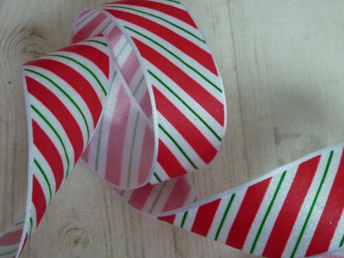 Red White Candy USA Stripe Ribbon Cakes Bows Wreaths Decoration 1m