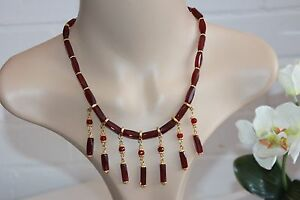 Red-faceted-glass-beads-amp-tibetan-flower-ladies-beaded-fashion-bib-necklace