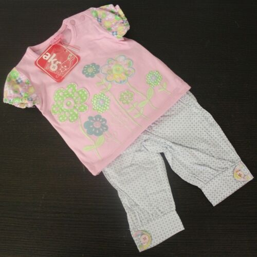 62-92 mit Blumen NEU AKR BABY Mädchen 2-Teiler Hose /& T-Shirt Gr 3-24M