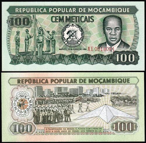 UNC 20 PCS CONSECUTIVE LOT P.126a MOZAMBIQUE 100 METICAIS* 1980