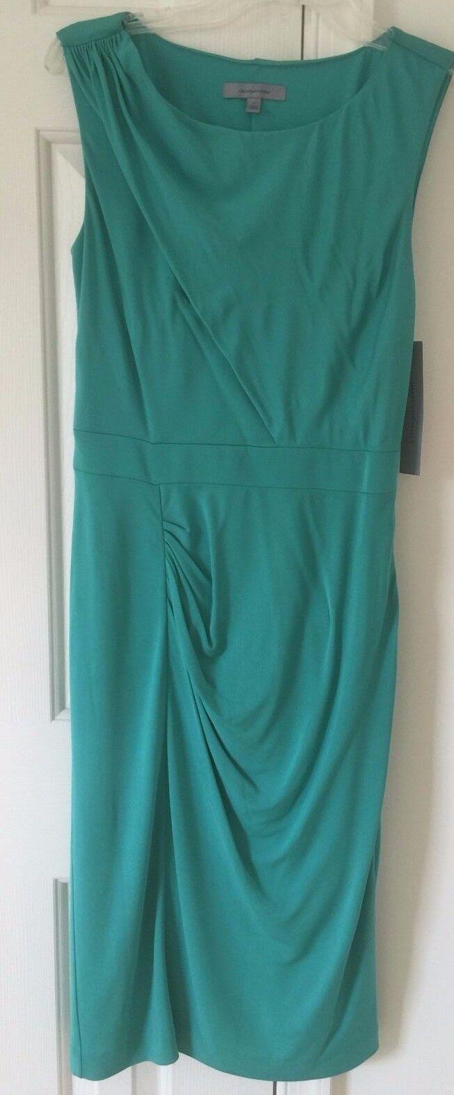 NWT  Classiques Entier off shoulder Grün stretch sheath dress Knee-Length 8