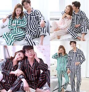 Women-Men-Silk-Satin-Pajamas-Sets-Long-Sleeve-Pyjamas-Sleepwear-Nightwear-Lovers