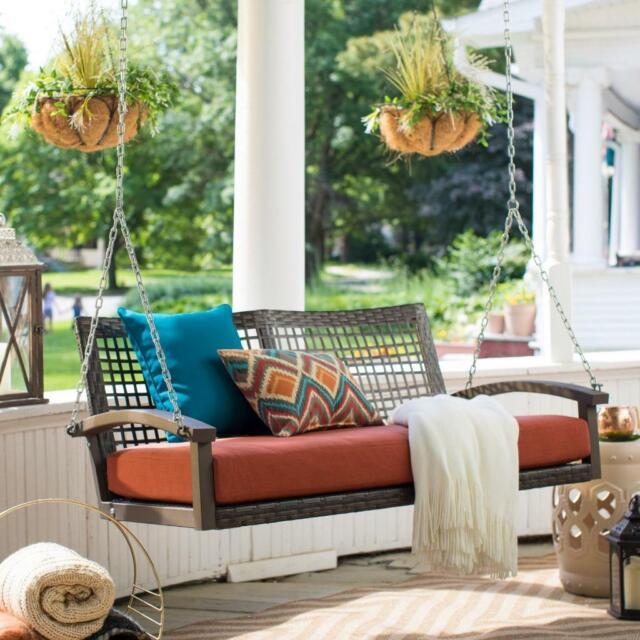 Belham Living Montauk Resin Wicker Outdoor Porch Swing Bed With