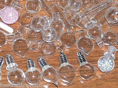 10 Mix Glass bottles Pendant Vial mini small charms fill necklace supplies float
