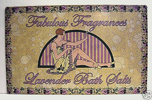 Lavender Bath Salts Rustic Retro Old Style Tin Sign