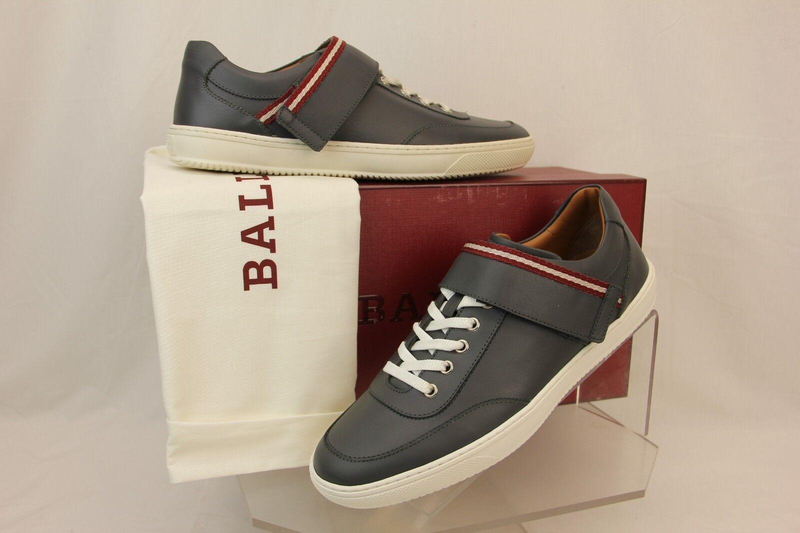 Nuevo En Caja BALLY Oasys gris Oscuro Cuero Con Cordones Logotipo SWISS Zapatillas 8 EE. UU. 41 Italia