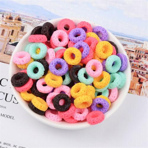 30pcs Random Resin Donuts Cabochons Multi-colors Flatback Craft Decorations 16mm