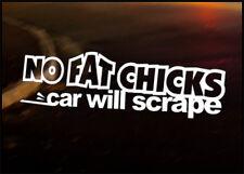 NO FAT CHICKS JDM Decal vinyl sticker, VW Japan Euro Drift Audi Funny BMW