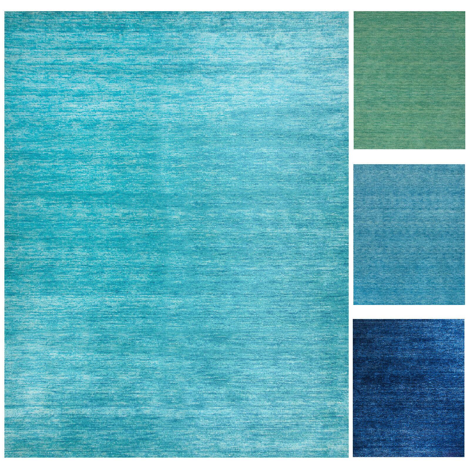 Morgenland Gabbeh Teppich UNI Blautöne Türkis Einfarbig Handgewebt Schurwolle