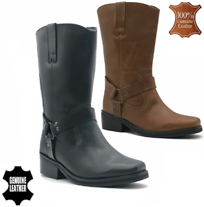 Womens Mens Black Leather Biker Boots