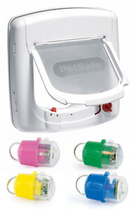 PetSafe-Staywell-White-Infra-Red-500-Cat-Flap-Door-amp-Key-4-Way-Locking