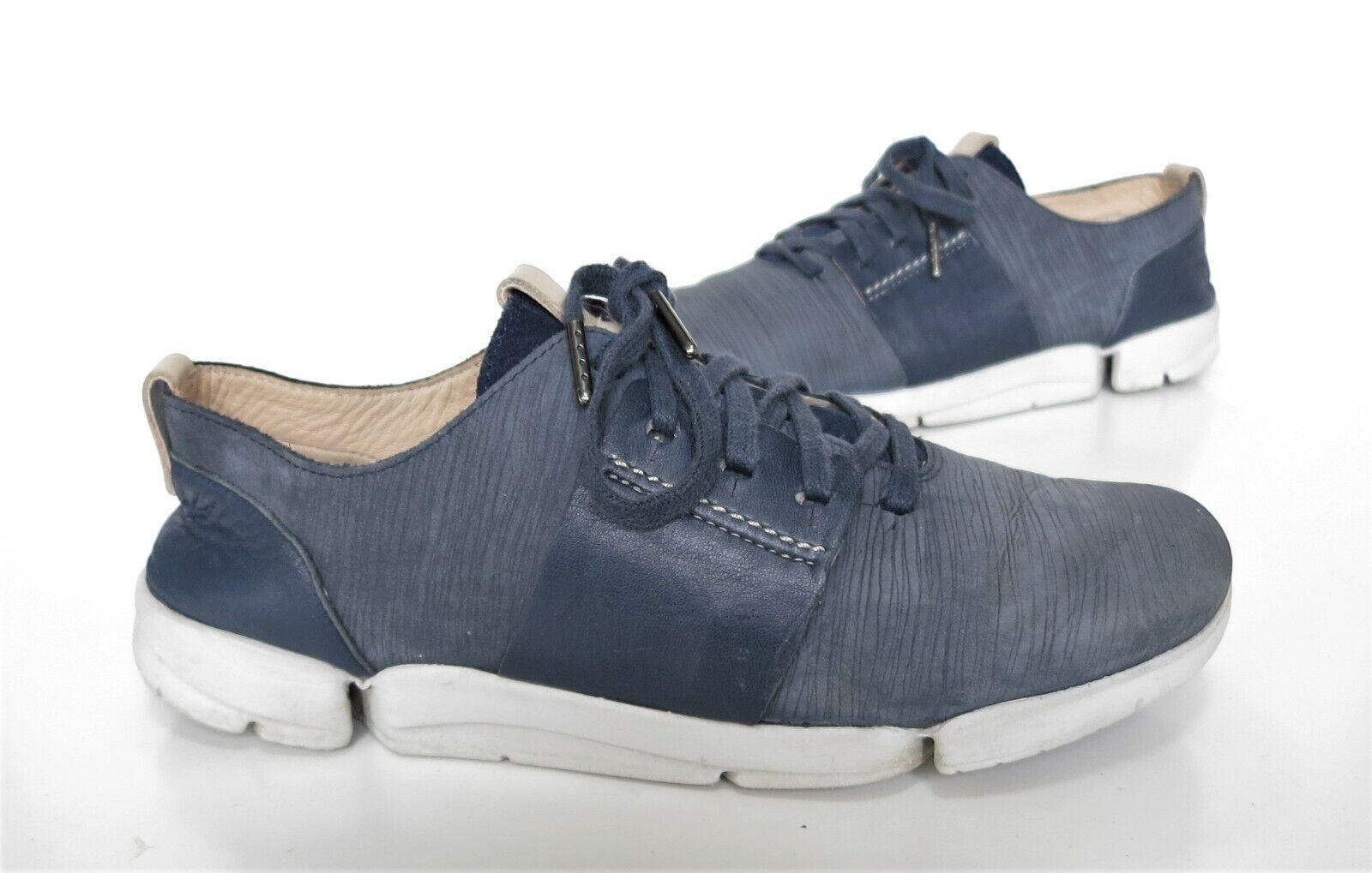 Ladies CLARKS Originals Trigenic Blue Leather Comfort Shoes Size 5 D Good Cond