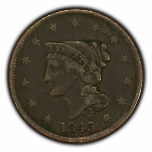 1843 1c Braided Hair Large Cent - VF Coin - SKU-Y2669