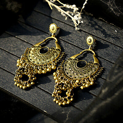 Indian Jhumka Gypsy Jewelry Gold Boho Vintage Ethnic Women Drop
