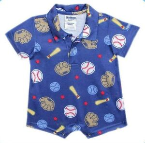 Oshkosh-B-039-gosh-Baseball-Printed-Collared-Romper-Infant-Baby-Boy-Clothes-24-mos