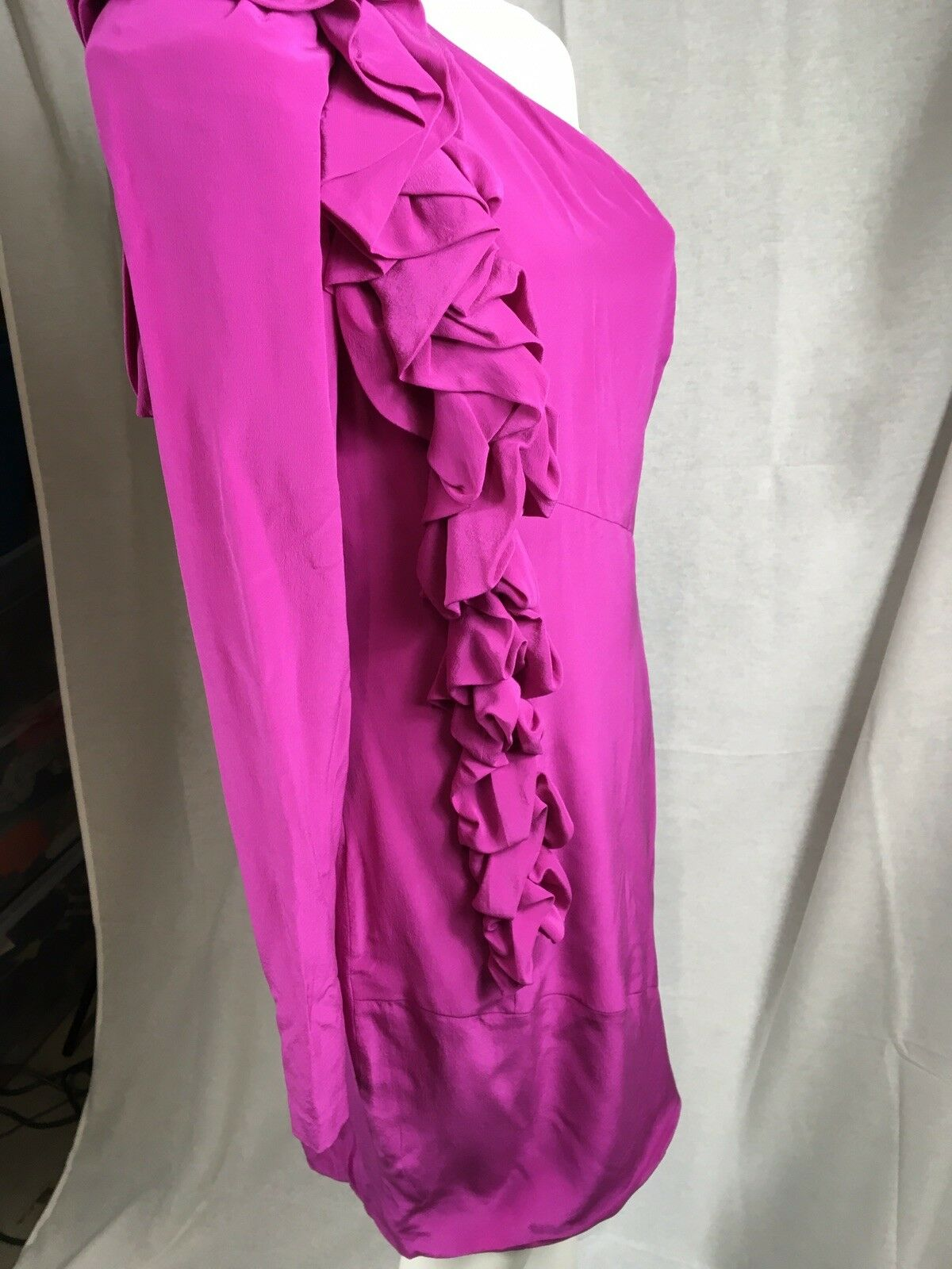 NWT Robert Rodriguez Dress Hot Pink Pink Pink Fuchsia One Shoulder Ruffle Dress Size 10 2c9731