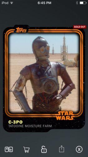 Topps Star Wars Digital Card Trader Orange C-3PO Insert Award
