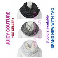 Juicy Couture Neck Warmer Plush Knit Marled Cowl Slouchy Fashionable Scarf