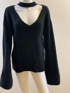 GUESS Women's Size XL Black Choker Style V-Neck Bell Sleeve Sweater. EUC