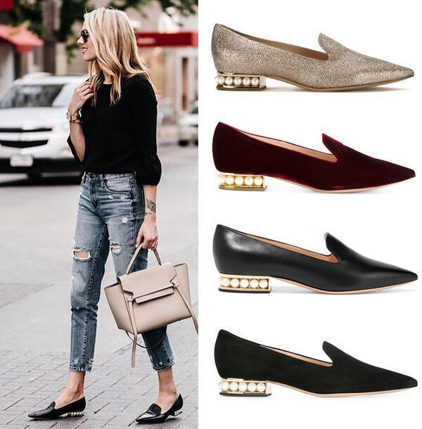 femmes Pearls Low Heels Pointed Toe Flat Ballet chaussures Loafers Moccasin Oxfords C1