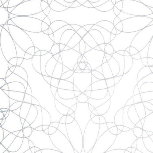 Wachstuch Tischdecke florale Linien grau silber auf weiss M19027 eckig rund oval