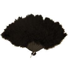 BLACK FEATHER HAND FAN LADIES BURLESQUE FANCY DRESS COSTUME