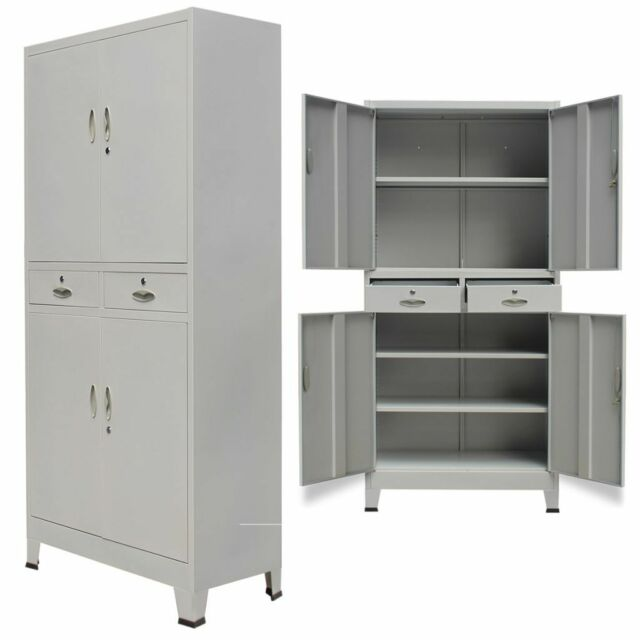 Office Cabinet 4 Door Metal Storage Cupboard 2 Drawers Tall 180cm