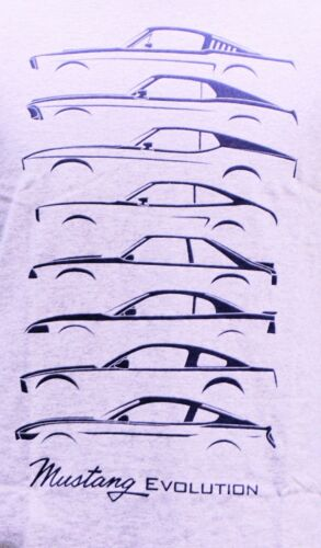 MUSTANG EVOLUTION SPORT GREY SHIRT SHOWING MULTIPLE MUSTANG BODY STYLES