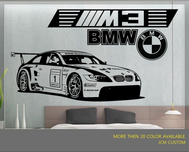 "BMW M3 GT2 M-Power Race Car Removable Wall Vinyl Decal Sticker 58/"" X 22/"""