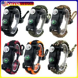 Outdoor Survival Braided Paracord Bracelet w/ Compass Whistle SOS LED Light N#S7