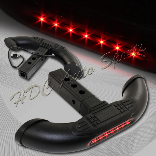 "1.25""/2"" Receiver Black Rear Tow Tail Gate Hatch Cover Step Bar+LED Brake Light"
