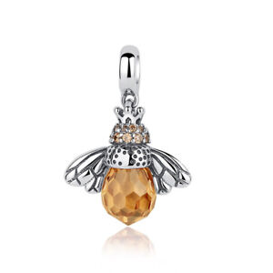 New925-Sterling-Silver-Honey-Bee-Yellow-Crystal-European-Bead-Charm-fit-Bracelet