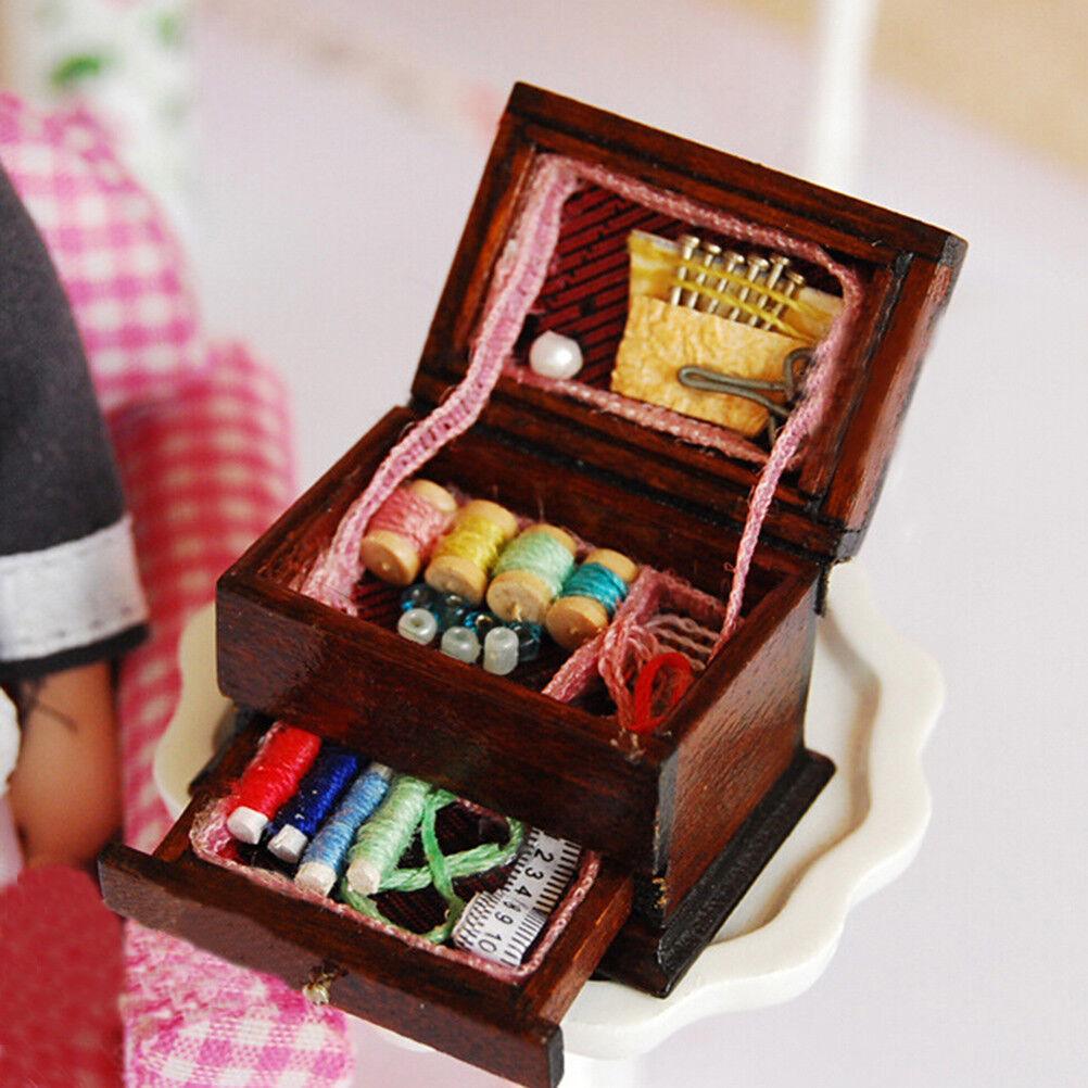 Vintage Sewing Needlework Needle Kit Box 1:12 Dollhouse Miniature Mini Decor LSC