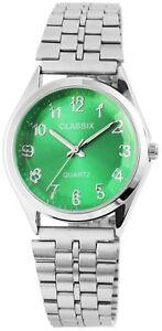 Classix-Herrenuhr-Gruen-Silber-Arabische-Ziffern-Analog-Armbanduhr-X-2800017-003