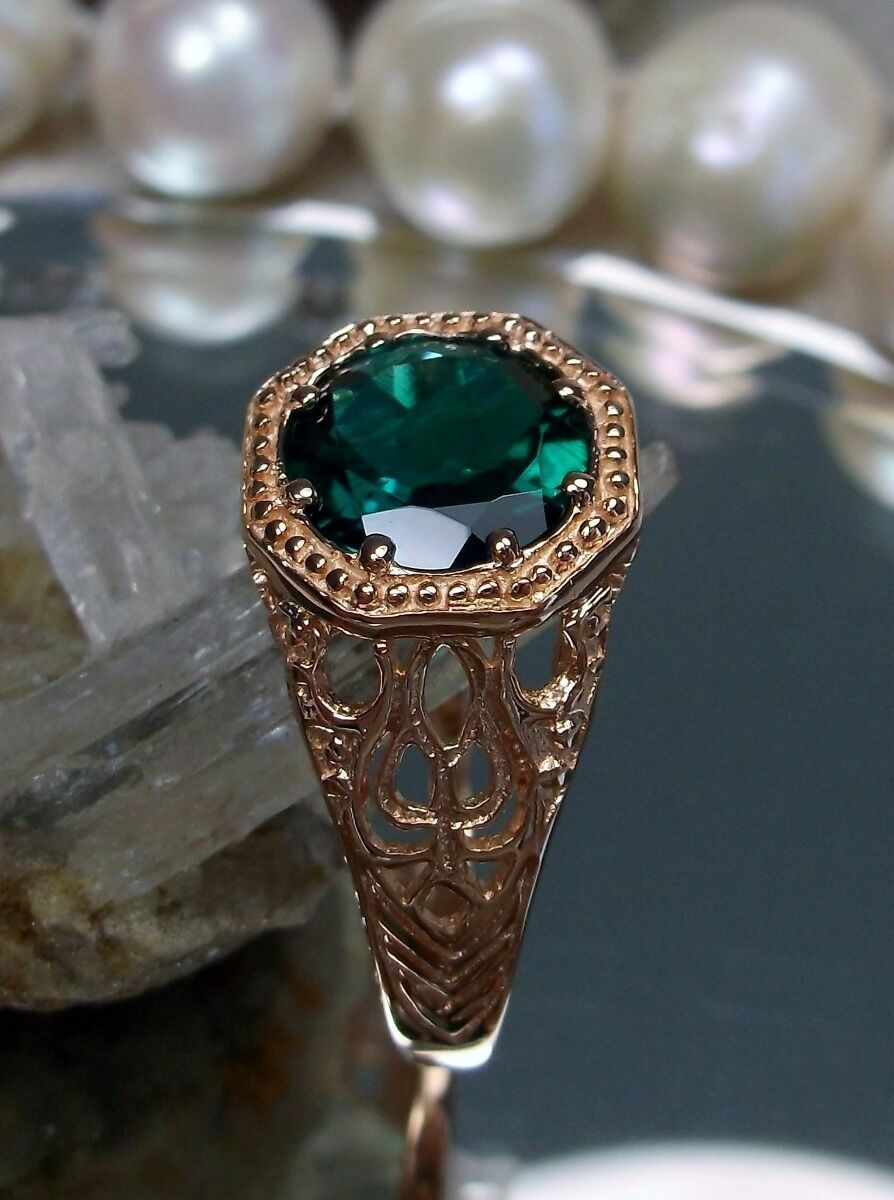 Natural Green Emerald 10k pink gold Victorian Filigree Ring Size {Made To Order}