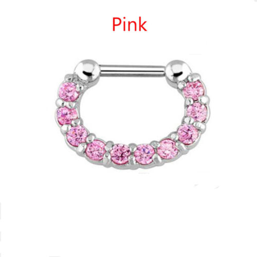 1pc Charme Unisexe Acier Chirurgical Septum Clicker Nez Anneau Hoop Piercing Jewelry