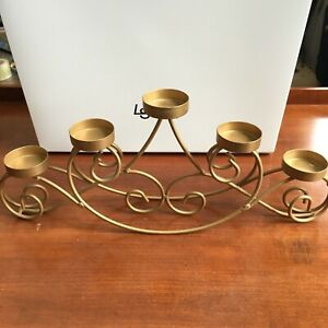 5 Arm Gold Iron Candelabra, Unbranded