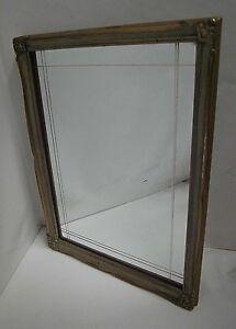 Antique Furniture Good Mirror The 60er Rockabilly Pattern Rectangular Wood Wall Mirror
