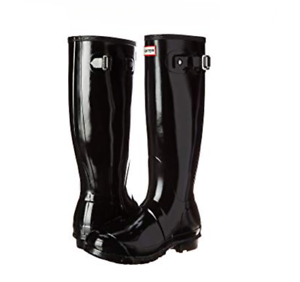 Hunter Original Tall Gloss botas de agua para mujer, negro, ()