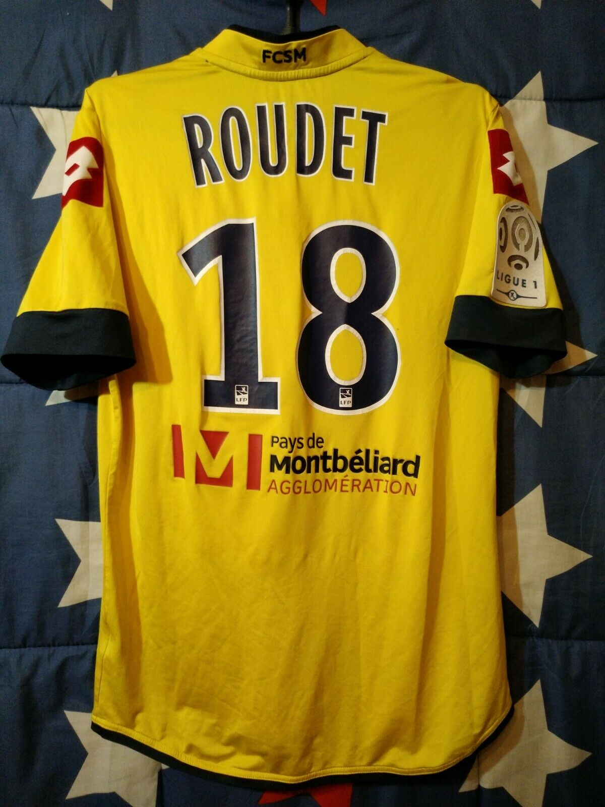 SOCHAUX FRANCE 2013-2014 PLAYER ISSUE HOME FOOTBALL SHIRT JERSEY ROUDET