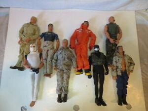 Lot of Eight 1996 Pawtucket GI Joe Figures Including Snake Eyes and White Ninja