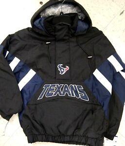 big sale 267f7 cc981 Details about HOUSTON TEXANS NFL STARTER HALF ZIP PULLOVER BLACK HOODED  MENS JACKET $145 L
