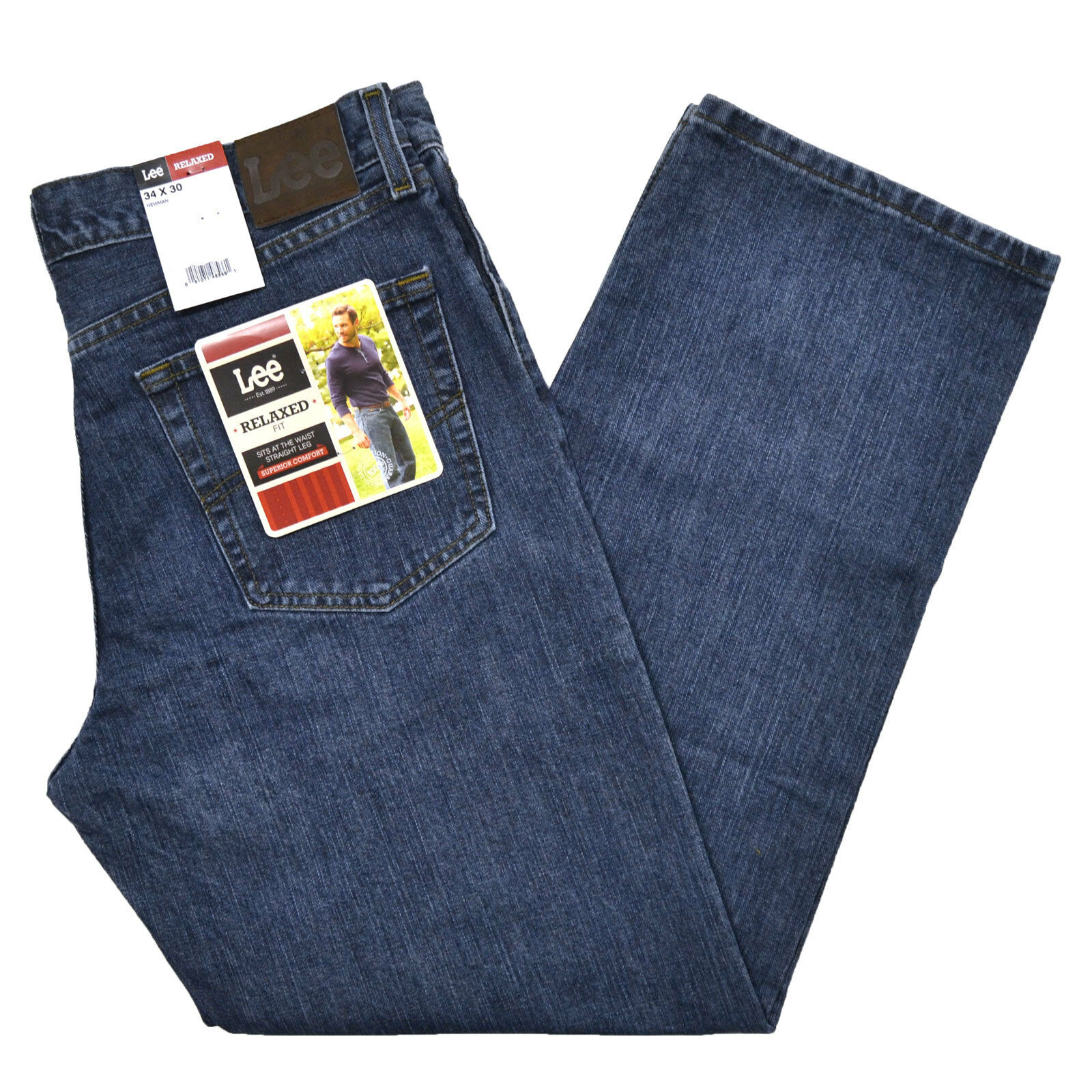 Lee Jeans Mens Relaxed Fit Newman Straight Leg Stonewashed Denim New 2055526