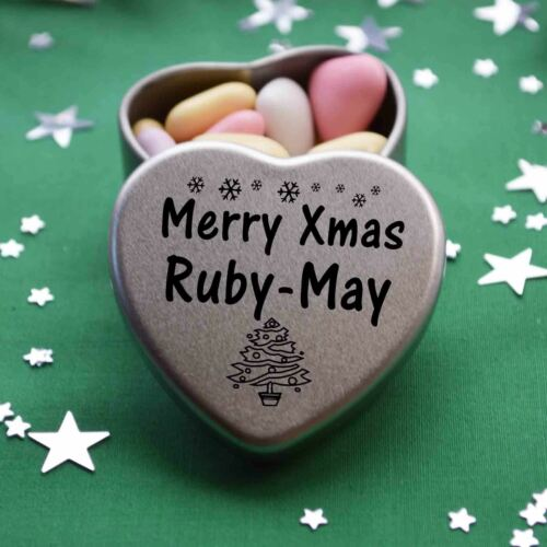 Merry xmas ruby-may mini coeur Tin Cadeau Joyeux Noël Stocking Filler